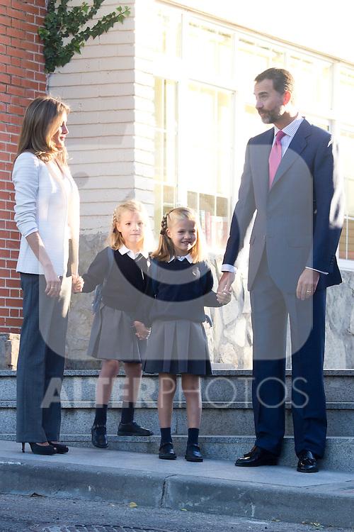 14.09.2012. Prince Felipe of Spain, Princess Letizia of Spain and their daughters Leonor and Sofia  arrive at 'Santa Maria de los Rosales' School in Aravaca near of Madrid, Spain. In the image (L-R) Princess Letizia, Sofia, Leonor and Prince Felipe (Alterphotos/Marta Gonzalez)