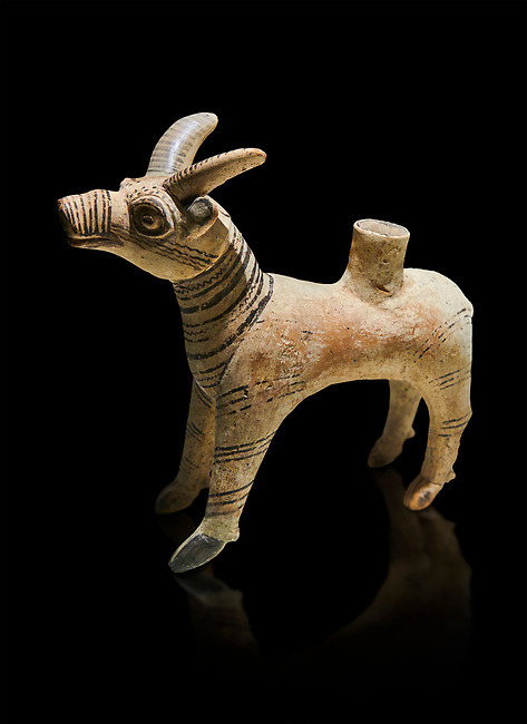 Bronze Age Anatolian terra cotta antilope shaped ritual vessel- 19th to 17th century BC - Kültepe Kanesh - Museum of Anatolian Civilisations, Ankara, Turkey.  Against a black background.
