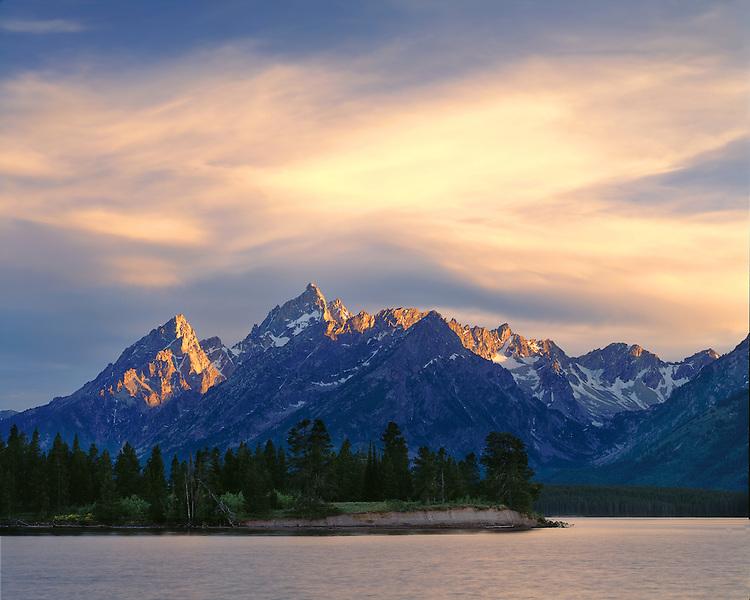 Sunset light on the Teton Range and Jackson Lake viewed from Grassy Island; Grand Teton National Park, WY
