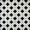 Ella, a waterjet and hand-cut stone mosaic, shown in Nero Marquina and Afyon White, is by Sara Baldwin for New Ravenna Mosaics.