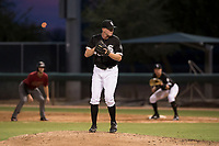 AZL White Sox relief pitcher Carter Love (43) prepares to deliver a pitch during an Arizona League game against the AZL Diamondbacks at Camelback Ranch on July 12, 2018 in Glendale, Arizona. The AZL Diamondbacks defeated the AZL White Sox 5-1. (Zachary Lucy/Four Seam Images)