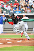 Birmingham Barons catcher Yermin Mercedes (6) runs to first base during a game against the Tennessee Smokies at Smokies Stadium on May 15, 2019 in Kodak, Tennessee. The Smokies defeated the Barons 7-3. (Tony Farlow/Four Seam Images)