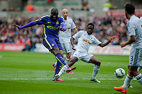 SWANSEA, WALES - MAY 17: Yaya Toure of Manchester City  scores  during the Premier League match between Swansea City and Manchester City at The Liberty Stadium on May 17, 2015 in Swansea, Wales.  (Photo by Athena Pictures/Getty Images)