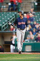 New York Yankees second baseman Starlin Castro (14), on a rehab assignment with the Scranton/Wilkes-Barre RailRiders, walks back to the dugout after striking out during the first game of a doubleheader against the Rochester Red Wings on August 23, 2017 at Frontier Field in Rochester, New York.  Rochester defeated Scranton 5-4 in a game that was originally started on August 22nd but was postponed due to inclement weather.  (Mike Janes/Four Seam Images)