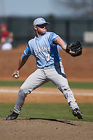 Ryan Leach (7) of the North Carolina Tar Heels in action versus the St. John's Red Storm at the 2008 Coca-Cola Classic at the Winthrop Ballpark in Rock Hill, SC, Sunday, March 2, 2008.