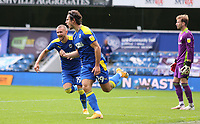 first goal scored for AFC Wimbledon by Ryan Longman of AFC Wimbledon as he celebrates during AFC Wimbledon vs Accrington Stanley, Sky Bet EFL League 1 Football at The Kiyan Prince Foundation Stadium on 3rd October 2020