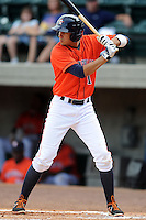 Greenville Astros designated hitter Edwin Gomez #1 awaits a pitch during a game against the Kingsport Mets at Pioneer Park on August 4, 2013 in Greenville, Tennessee. The Astros won the game 17-1. (Tony Farlow/Four Seam Images)