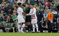 Dublin, Ireland - Saturday June 02, 2018: Weston McKennie, Joe Corona during an international friendly match between the men's national teams of the United States (USA) and Republic of Ireland (IRE) at Aviva Stadium.