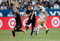 CARSON, CA - JULY 19: Zlatan Ibrahimovic #9 of the Los Angeles Galaxy moves to the ball during a game between Los Angeles FC and Los Angeles Galaxy at Dignity Health Sports Park on July 19, 2019 in Carson, California.