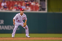 20 May 2014: Washington Nationals infielder Zach Walters is set in position during a game against the Cincinnati Reds at Nationals Park in Washington, DC. The Nationals defeated the Reds 9-4 to take the second game of their 3-game series. Mandatory Credit: Ed Wolfstein Photo *** RAW (NEF) Image File Available ***