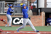 ELON, NC - FEBRUARY 28: Nick Barrett #29 of Indiana State University hits the ball during a game between Indiana State and Elon at Walter C. Latham Park on February 28, 2020 in Elon, North Carolina.
