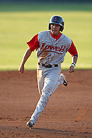 Lowell Spinners shortstop James Kang during a game vs. the Batavia Muckdogs at Dwyer Stadium in Batavia, New York July 16, 2010.   Batavia defeated Lowell 5-4 with a walk off RBI single.  Photo By Mike Janes/Four Seam Images