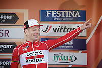 Jurgen Roelandts (BEL/Lotto-Soudal) admitted afterward he thought he had the win in his pocket with 50 meters to go, only to be overtaken by Démarre & Swift to become 3rd on the very last moment<br /> <br /> 107th Milano-Sanremo 2016