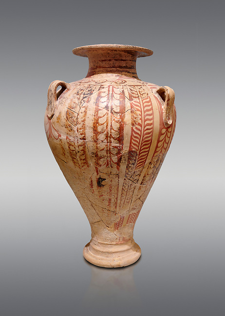 Minoan decorated pithos stirrup jar , Zafer Papoura 1400-1250 BC; Heraklion Archaeological Museum, grey background