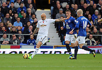 Liverpool, UK. Saturday 01 November 2014<br /> Pictured L-R: Jonjo Shelvey of Swansea against Ross Barkley and Steven Naismith of Everton.<br /> Re: Premier League Everton v Swansea City FC at Goodison Park, Liverpool, Merseyside, UK.