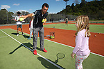 NELSON, NEW ZEALAND - SEPTEMBER 23: Simone Lunn receives some coaching from Nelson Head Coach Nick Caton at the Open Day Tennis on September 23 2017 in Nelson, New Zealand. (Photo by: Evan Barnes Shuttersport Limited)