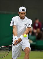 28-06-13, England, London,  AELTC, Wimbledon, Tennis, Wimbledon 2013, Day five, Jurgen Melzer (AUT)<br /> <br /> <br /> <br /> Photo: Henk Koster