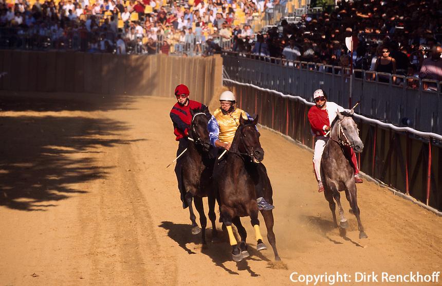 Pferderennen beim Palio in Asti, beim Palio, das jedes Jahr am 3.Septembersonntag stattfindet, treten 14 Stadtviertel gegeneinander zum Pferderennen an, Piemont, Italien