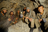 Miners looking for emeralds at 300 meters deep in to the mountain at 4000 meters high, in the Panshir valley.