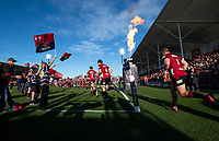The Crusaders run out for the 2020 Super Rugby match between the Crusaders and Highlanders at Orangetheory Stadium in Christchurch, New Zealand on Saturday, 9 August 2020. Photo: Joe Johnson / lintottphoto.co.nz