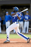 Center fielder Ward Hacklen (1) of the Spartanburg Methodist College Pioneers bats in Game 2 of a junior college doubleheader against Southeastern Community College on Wednesday, March 28, 2018, at Mooneyham Field in Spartanburg, South Carolina. (Tom Priddy/Four Seam Images)