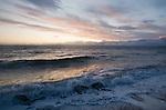 Puget Sound, Seattle, Ballard, shoreline, Golden Gardens Park, wind storm, sunset, view to Olympic Peninsula, Olympic Mountains, winter,.