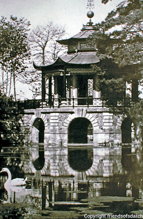 Chinese Pavilion of Cassan in L'Isle-Adam, Val-d'Oise, Ile-de-France, France. Designed by Pierre-Jacques Bergeret in 1778. Completed in 1790.