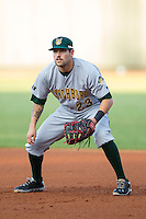 Lynchburg Hillcats first baseman Justin Bloxom (23) on defense against the Winston-Salem Dash at BB&T Ballpark on August 13, 2014 in Winston-Salem, North Carolina.  The Hillcats defeated the Dash 4-3.   (Brian Westerholt/Four Seam Images)