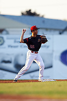 Batavia Muckdogs second baseman Shao-Pin Ho (26) throws to first base during a game against the Tri-City ValleyCats on July 15, 2017 at Dwyer Stadium in Batavia, New York.  Tri-City defeated Batavia 5-4.  (Mike Janes/Four Seam Images)