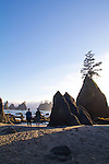 Olympic National Park, Shi Shi Beach, Point of the Arches, couple beach walking, Olympic Coast National Reserve, Washington State, Pacific Ocean, Pacific Northwest, U.S.A.,
