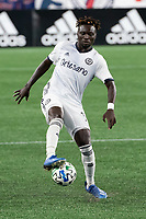 FOXBOROUGH, UNITED STATES - AUGUST 20: Olivier Mbaizo #15 of Philadelphia Union during a game between Philadelphia Union and New England Revolution at Gilette on August 20, 2020 in Foxborough, Massachusetts.