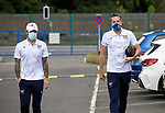 St Johnstone v Preston North End…13.07.21  McDiarmid Park<br />Stevie May and Elliott Parish arrive for tonight's game<br />Picture by Graeme Hart.<br />Copyright Perthshire Picture Agency<br />Tel: 01738 623350  Mobile: 07990 594431