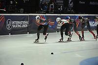 SPEEDSKATING: DORDRECHT: 05-03-2021, ISU World Short Track Speedskating Championships, QF 1500m Men, Martin Kolenc (CRO), Adrian Luedtke (GER), Maxime Laoun (CAN), ©photo Martin de Jong