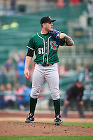 Great Lakes Loons relief pitcher Marcus Crescentini (51) looks in for the sign during the first game of a doubleheader against the Fort Wayne TinCaps on May 11, 2016 at Parkview Field in Fort Wayne, Indiana.  Great Lakes defeated Fort Wayne 3-0.  (Mike Janes/Four Seam Images)