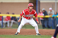 Batavia Muckdogs third baseman Ryan Cranmer (25) leads off first during a game against the State College Spikes on July 3, 2014 at Dwyer Stadium in Batavia, New York.  State College defeated Batavia 7-1.  (Mike Janes/Four Seam Images)