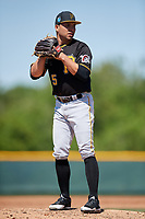 Pittsburgh Pirates pitcher Argenis Romano (55) during a minor league Spring Training game against the Atlanta Braves on March 13, 2018 at Pirate City in Bradenton, Florida.  (Mike Janes/Four Seam Images)