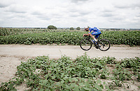 Fernando Gaviria (COL/Quick Step Floors) riding the Gravel Plugstreets, <br /> <br /> 1st Great War Remembrance Race 2018 (UCI Europe Tour Cat. 1.1) <br /> Nieuwpoort > Ieper (BE) 192.7 km
