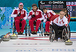 Dennis Thiessen, Sochi 2014 - Wheelchair Curling // Curling en fauteuil roulant.<br /> Canada takes on Russia in the Gold Medal Wheelchair Curling match // Le Canada affronte la Russie dans le match pour la médaille d'or de curling en fauteuil roulant. 15/03/2014.