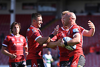 24th April 2021; Kingsholm Stadium, Gloucester, Gloucestershire, England; English Premiership Rugby, Gloucester versus Newcastle Falcons; Willi Heinz of Gloucester celebrates with his team mates on scoring their third try