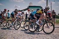 Belgian Champion Yves Lampaert (BEL/Quick Step Floors) at the end of pavé sector #9<br /> <br /> Stage 9: Arras Citadelle > Roubaix (154km)<br /> <br /> 105th Tour de France 2018<br /> ©kramon