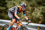 Damiano Caruso (ITA) Bahrain Victoriuos attacks from the breakaway with 70k to go during Stage 9 of La Vuelta d'Espana 2021, running 188km from Puerto Lumbreras to Alto de Velefique, Spain. 22nd August 2021.    <br /> Picture: Cxcling   Cyclefile<br /> <br /> All photos usage must carry mandatory copyright credit (© Cyclefile   Cxcling)