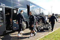 Photo: Richard Lee/Richard Lane Photography. Aviva Premiership. Newcastle Falcons v Wasps. 27/03/2016. The Wasps team coach arrives at Kingston Park.