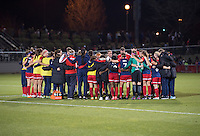 Boyds, MD - April 16, 2016: Washington Spirit  huddle. The Washington Spirit defeated the Boston Breakers 1-0 during their National Women's Soccer League (NWSL) match at the Maryland SoccerPlex.