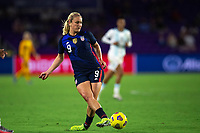 ORLANDO CITY, FL - FEBRUARY 24: Lindsey Horan #9 of the USWNT kicks the ball during a game between Argentina and USWNT at Exploria Stadium on February 24, 2021 in Orlando City, Florida.