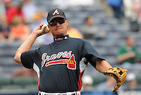 29 March 2008: Chipper Jones of the Atlanta Braves in an exhibition game against the Cleveland Indians at Turner Field in Atlanta, Ga.   Photo by: Tom Priddy/Four Seam Images