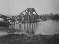 BNPS.co.uk (01202) 558833. <br /> Pic: Bosleys/BNPS<br /> <br /> Pictured: A demolished bridge at the Rhine, Germany. <br /> <br /> Never before seen photos taken by a fishmonger turned SAS hero behind enemy lines in World War Two have come to light 76 years on.<br /> <br /> Sergeant Samuel Rushworth, of the 2nd Special Air Service, was dropped into occupied France two days before D-Day in June 1944.<br /> <br /> They were tasked with disrupting German reinforcements dispatched to Normandy following the Allied landings.