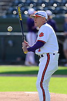 Head coach Jack Leggett (7) of the Clemson Tigers prior to a fall Orange & Purple intrasquad scrimmage on November 2, 2013, at Fluor Field at the West End in Greenville, South Carolina. Orange won 7-1.(Tom Priddy/Four Seam Images)