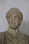 Funerary bust of a woman from Beth Shean, Roman period, limestone, on display at the Rockefeller Museum