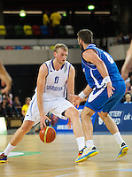 20 AUG 2014 - LONDON, GBR - Dan Clark (GBR) (left) from Great Britain tries to avoid a challenge from Hlynur Baeringsson (ISL) (right) from Iceland during their men's 2015 EuroBasket 3rd Qualifying Round game at the Copper Box Arena in the Queen Elizabeth Olympic Park in Stratford, London, Great Britain (PHOTO COPYRIGHT © 2014 NIGEL FARROW, ALL RIGHTS RESERVED)