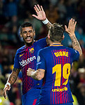 Jose Paulo Bezerra Maciel Junior, Paulinho, of FC Barcelona celebrates with Lucas Digne during the UEFA Champions League 2017-18 match between FC Barcelona and Olympiacos FC at Camp Nou on 18 October 2017 in Barcelona, Spain. Photo by Vicens Gimenez / Power Sport Images